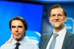 José María Aznar y Mariano Rajoy durante la conferencia