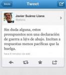 Captura del tuit de Javier Suárez.